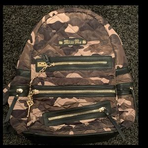miss me camo quilted lock and key backpack